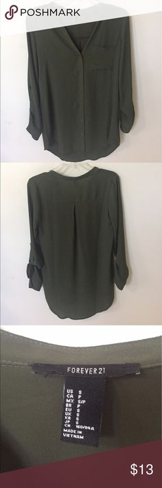 Forever 21 blouse Beautiful army/olive green. Long blouse that goes well with about anything. Forever 21 Tops Blouses