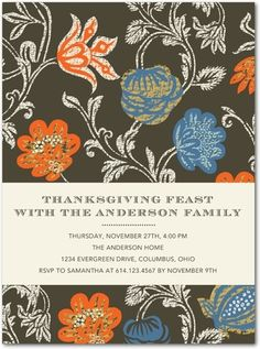 Elegant Thanksgiving Party Invitations featuring Autumn Embroidery in floral pattern.