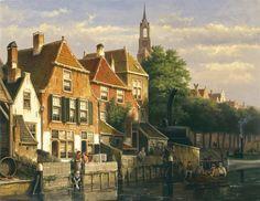 Willem Koekkoek (Amsterdam 1839-1895 Nieuwer-Amstel (thans Amstelveen)) Zonnige stadsgracht - Kunsthandel Simonis en Buunk, Ede (Nederland).