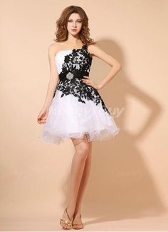 Organza One Shoulder Embroidery a Line Prom Dress