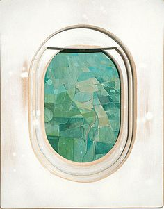 Jim Darling ~ Airplane Windows series; *aerialscapes* Acrylic + aerosol paint on woodwork, each 18in x 24 in.