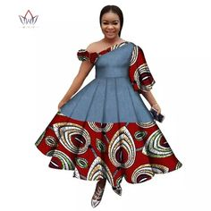 Image of New Arrival Summer Women Dress Casual Printed Dashiki Women's African Dress Irregular Private Customized Dresses BRW African Print Dress Designs, African Print Dresses, African Dresses For Women, African Print Fashion, African Attire, Summer Dresses For Women, Modern African Dresses, Dress Summer, South African Traditional Dresses