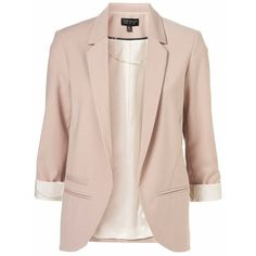 Structured Blazer ❤ liked on Polyvore featuring outerwear, jackets, blazers, tops, pink blazer, pink blazer jacket, structured blazer, pink jacket and blazer jacket
