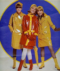 Mod rain gear From Seventeen, August 1966 mod mid century plastic raincoat boots skirt hat red yellow stripes mid 60s go go mini