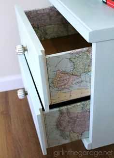 """Decoupaged Map Table: Chalk Paint, Mod Podge, and maps.  """"Travel"""" themed furniture makeover day - girlinthegarage.net"""