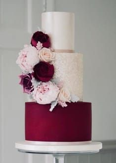Wedding Cake Inspiration - Cotton & Crumbs Wedding Cake Inspiration - Cotton & Crumbs You are in the right place about romantic wedding cake fairy tales Here we offer you the most beautif Burgundy Wedding Cake, Floral Wedding Cakes, Fall Wedding Cakes, Elegant Wedding Cakes, Beautiful Wedding Cakes, Mod Wedding, Wedding Cake Designs, Elegant Cakes, Wedding Cupcakes