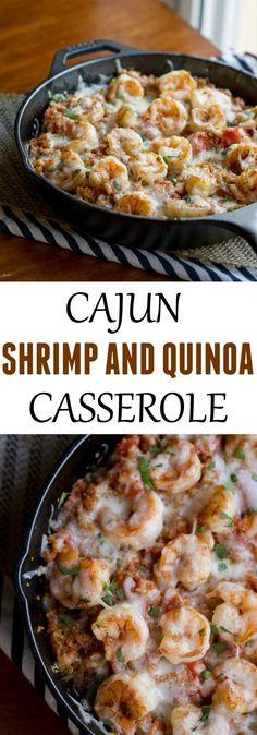 Super simple dinner recipe - Cajun Shrimp and Quinoa Casserole. #low_calorie_quinoa_recipes