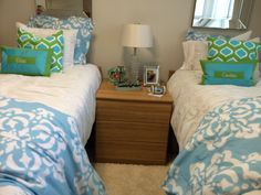 Darling TCU dorm room with Sew Sew Swell monogrammed pillows!