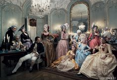ENTOURAGE Louis XVI, played by Jason Schwartzman (at rear), and his wife (Dunst, in pale blue) hold court at a late-night gambling party. The queen's lover, Axel von Fersen (played by Jamie Dornan, front left), watches longingly from afar. Shot in Paris at the Centre Historique des Archives Nationales, Hôtel de Soubise—where many of the movie's interiors were filmed.