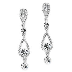 Linear Crystal Teardrops Dangle Wedding or Party Earrings – http://www.secondidos.com/collections/jewelry/products/linear-crystal-teardrops-dangle-wedding-or-party-earrings  $13.95