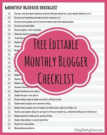 Free monthly blogger checklist that is printable and fully editable from playpartypin.com #blogging #freeprintable #checklist