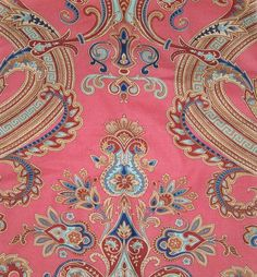 STUNNING!!...SCALAMANDRE HUDSON PAISLEY BELLE JARDIN COLLECTION FABRIC 10 YARDS CLICK ON PHOTOS TO ENLARGE...    COLORWAY: CORAL MULTI    REPEATS: V 17.5 H 16 1/4    100% COTTON    WIDTH: 49 1/2    RETAILS FOR OVER $375 A YARD VIA DESIGNERS.... SUITABLE FOR ALL HOME DECOR......    PLEASE EMAIL WITH ANY QUESTIONS...AS THERE ARE NO RETURNS