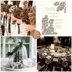 Add rustic charm to your winter wedding with pine cone wedding decorations.
