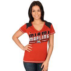 Majestic Miami Marlins Women's Superior Speed V-Neck T-Shirt - Orange - $14.99