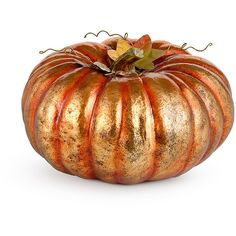 "Improvements Gilded Decorative Pumpkin-12"" ($60) ❤ liked on Polyvore featuring home, home decor, holiday decorations, artificial pumpkins, decorative pumpkins, fall decor, faux pumpkins, gilded decorative pumpkin, halloween decor and halloween pumpkin"