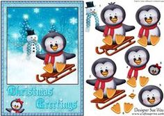 Penguin Sledging Card front and Decoupage