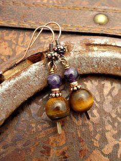 Amethyst and Tigers eye gemstone earrings. Small copper earrings.