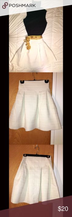 """Gorgeous A-line white length skirt This gorgeous white poly/Lycra blend skirt is extremely versatile. Dress up or casual. Size L. Amazing quality. Has solid feel and weight to it. Not flimsy or see through. 23"""" L. Awesome deal. Skirts Midi"""
