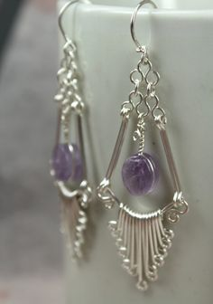 Artisan Handcrafted Sterling Silver Filigree Earrings - set with amethyst gems.