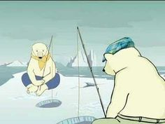 Friends of the Earth. Two polar bears muse on the causes of global warming.
