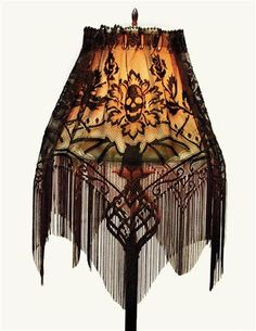 "$29.95---we might actually be able to get brockinton hall to agree to this. Convert a common lamp shade into dreadfully gothic decor suitable for any haunted parlor. May also be used as a valance or mantle runner. USA. 60 x 22""."