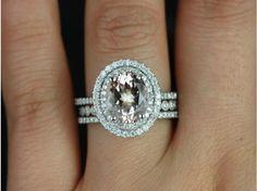 Rosados Box Cara 10x8mm & Petite Bubbles Milgrain 14kt White Gold Oval Morganite and Diamond Double Halo TRIO Wedding Set