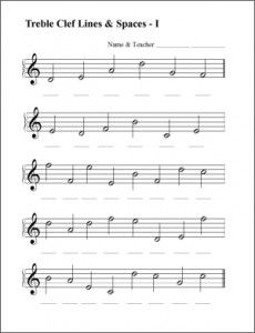 music worksheets for free download. Spaces, Lines, Treble, Bass