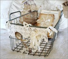 add some lace to those wire baskets!