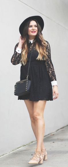 Such an easy outfit to re-create! | Fashion blogger Mash Elle styles a long sleeve black lace mine dress with a wide rimmed hat, red lip, pink blush lace up shoes and black stud cross body purse.