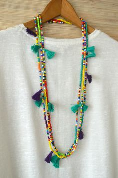 Long tassel necklace Hot pink tassel от PearlandShineJewelry