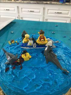 Lego shark attack cake
