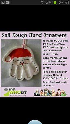 Santa hand salt dough ornament
