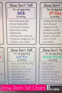My students have such a hard time with adding description to their writing. These Show Don't Tell charts help elementary students to write with more expression, detail, description and to show action. Each anchor chart comes with a commonly overused word in writing and examples of how to show that word with detail. Great for revising, writing journals and notebooks, resource rings & wall posters. #showdonttell #writingstrategy #writersworkshop #anchorcharts #descriptivewriting #narrativewrit