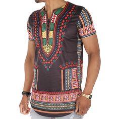 John H - Tee Shirt Oversize Dashiki T160902 Noir Multi -  LaBoutiqueOfficielle.com Style Africain 3a483eee375f
