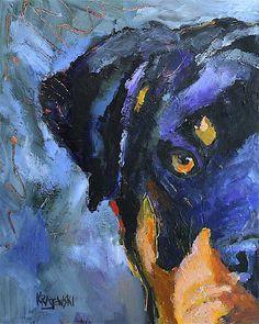Rottweiler Art Print of Original Acrylic Painting 8x10