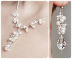 pearl wedding jewelry ideas | Bridal Jewelry SET. Pearl and Crystal Necklace and ... | Beading ideas