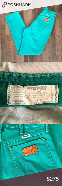 "😍 Vintage 80's Wrangler Riata Jeans!! ❤️OMFG❤️ Vintage 80's Wrangler Riata Jeans!!! Features an ultra high waist, tapered leg, roomy hips, amazing turquoise wash, and denim is 💯 cotton made in 🇺🇸. Size listed based on waist measurement. Has a 28"" waist best fit for a modern jean size 27-30 depending on desired fit. *Urban Outfitters *Reformation  - review photos carefully  - ask questions prior to purchasing  - I do not model  - no trades  - all sales are final  - no lowballing  - see…"