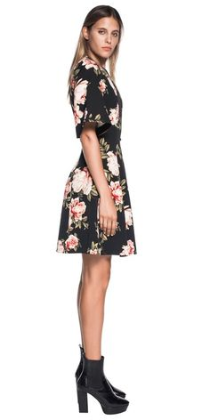 Made from a stretch rose print from Europe this flared sleeve dress features a crew neckline, fitted bodice and full skirt. Lined, it fastens with a metal zip at the centre back. Made in Australia. Cue Clothing, Fitted Bodice, News Design, Work Wear, Centre, Peplum, Neckline, Europe, Australia