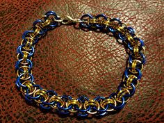 Helm weave chainmail bracelet, Blue, Gold, Bronze, chainmaille, jewelry, by TerrisTreasuresStore on Etsy