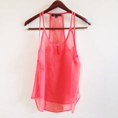 "Spotted while shopping on Poshmark: ""NEW! Sheer coral tank""! #poshmark #fashion #shopping #style #Tops"