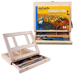 Desktop Table Top Drawing Painting Wooden Easel with Adjustable Canvas Support and Sliding Drawer for Artist Student, Made by Aged Beech Hardwood, Oil Finish, Art Supply Sketch Box Portable KSEVEN