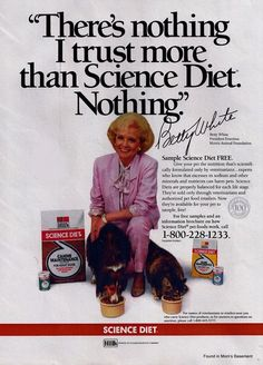 Betty White in a 1988 ad for Science Diet pet food