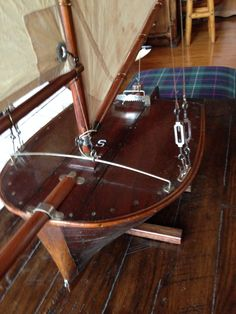 "Unbelievable pond sailor 19"" length, with bowsprit 48"", from jib boom to main boom 85"", height 85"" : S, Christibys SOLD"