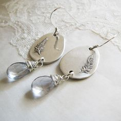 PMC Artisan Jewelry Fine Silver Feather Earrings by SilverWishes, $65.00