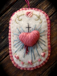 Sacred Heart... Needle Felted & Hand Embroidered, Modeled after…