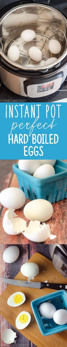 Instant Pot Perfect Hard Boiled Eggs: The 7-7-7 rule gets hard cooked eggs that are easy to peel and the perfect texture every time! via @frshaprilflours #Cooking