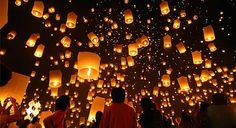 Thailand floating light festival. Want to see someday!!
