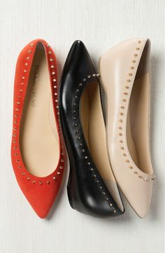 Definitely wanting these trendy flats in every color. Gleaming pyramid studs along the topline lend edgy-chic charm to this sleek essential.