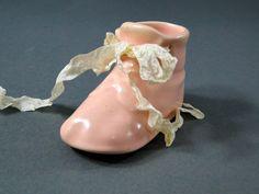 Pink Ceramic Baby Shoe 1940s Nursery Decor Collectible Memorabilia by SueEllensFlair on Etsy