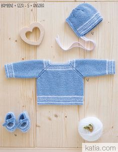 pattern knit crochet set autumn winter katia 6069 42 p Knitting Yarn, Baby Knitting, Knitting Patterns, Baby Coat, Wool Fabric, Garter Stitch, Baby Sweaters, Baby Booties, Couture